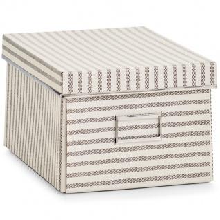 Zeller Aufbewahrungsbox Stripes, Pappe, Beige