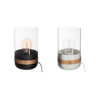 Tischlampe, Stehlampe aus Metall und Glas, Designerlampe, Nachttischlampe H:26cm