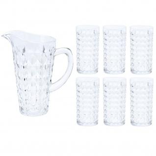 Gläser und Kanne, Set aus Glas, 7 Elemente - EH Excellent Houseware