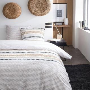 Bettwäsche-Set beidseitig, 220 x 240 cm, Baumwolle, beige mit Muster