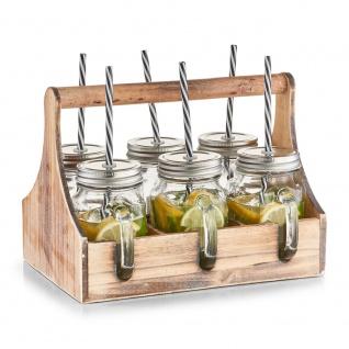 Box für Trinkgläser-Set, 6 x Glas mit Stroh, Holz, ZELLER