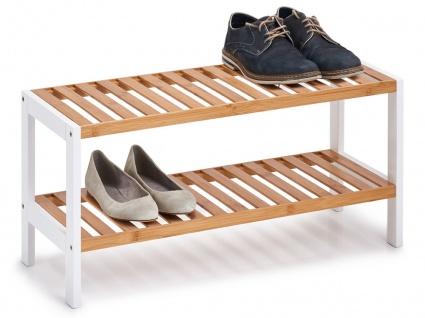 Schuhregal m. 2 Ablagen, Regal aus Bambus und Metall, kompakter Schuhschrank