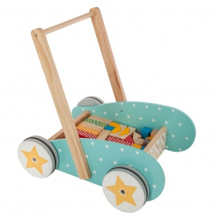 Kinderwagen mit 40 Stück Holzblöcken, Spielzeug für Kinder