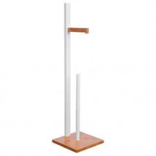 Toilettenpapierständer mit Ersatzrollenhalter, Bambus - 2in1