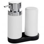 Wenko Easy Squeez-e Spülstation Weiß - Seifenspender und Spülmittelspender Fassungsvermögen: 0.25 l, Polyresin, 15 x 18 x 7 cm