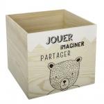 Spielzeugkiste, Holzkiste für Spielwaren mit Teddybär, Behälter für Spielwaren