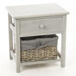 Nachttisch aus Holz mit 1 Schublade und Weidenkorb - Aufbewahrungsbox