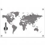 "ZELLER, Memoboard, Magnettafel "" Worldmap"" + 3 Magnete Glas, 60 x 40 x 1 cm"