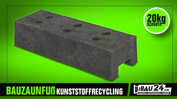 Bauzaunfuß / Mobilzaunfuß Kunststoffrecycling 22 kg - Vorschau