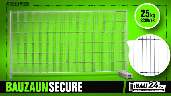 Bauzaun Secure inkl. Bauzaunfuß Kunststoff und Sicherheitsverbinder 20er Set