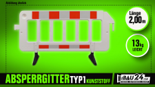 Absperrgitter Kunststoff rot / weiß 2, 00 m