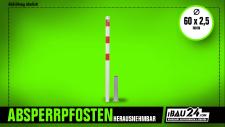 Absperrpfosten Ø 60 mm herausnehmbar, ohne Verschluss mit Bodenhülse