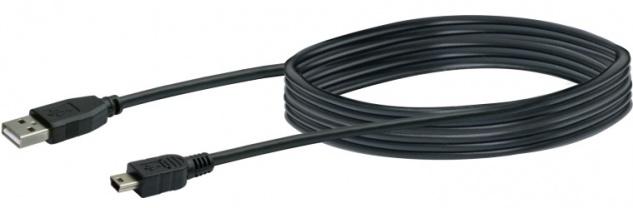 SCHWAIGER -CK1521 533- USB 2.0 Anschlusskabel USB 2.0 A Stecker zu USB 2.0 Mini-B Stecker, Schwarz