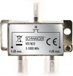 SCHWAIGER -VTF7822 531- 2-fach Verteiler (4 dB) für Kabel- und Antennenanlagen, Silber