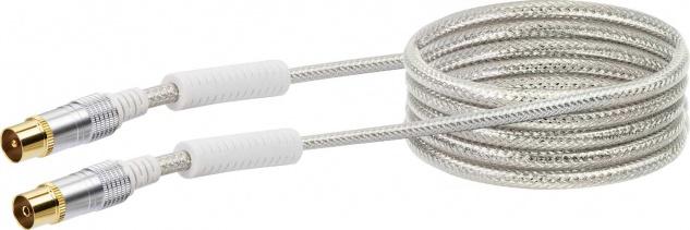 SCHWAIGER -KVKHD15 531- Antennen Anschlusskabel (110 dB) IEC Stecker zu IEC Buchse, mit Ferritkern, Transparent (Weiß)