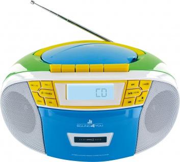SCHWAIGER -661644- Tragbarer CD-Player mit Kassettendeck und FM Radio, Bunt (Blau/Gelb/Grün/Weiß)