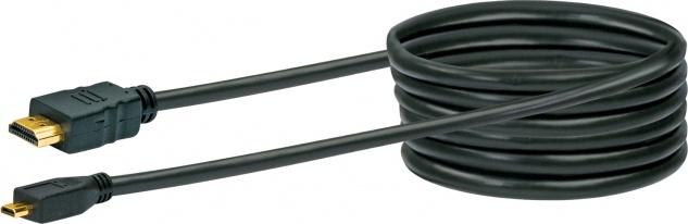 SCHWAIGER -HDMMC15 533- High-Speed-HDMI-Kabel mit Ethernet HDMI-Micro Stecker zu HDMI-Stecker, Schwarz