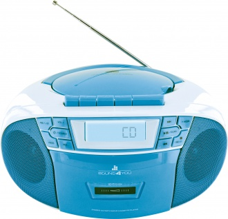 SCHWAIGER -661651- Tragbarer CD-Player mit Kassettendeck und FM Radio, Blau/Weiß