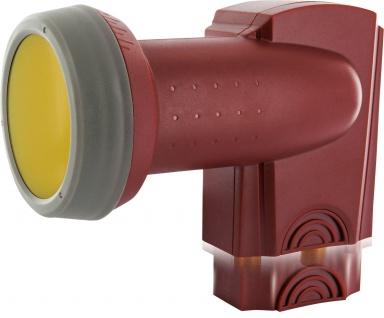 SCHWAIGER -SPS6814R 511- SUN PROTECT - Digitales Twin LNB mit vergoldeten Anschlüssen, Ziegelrot