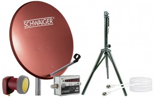 SCHWAIGER -719819- SAT Set, Satelliten Anlage, Ziegelrot