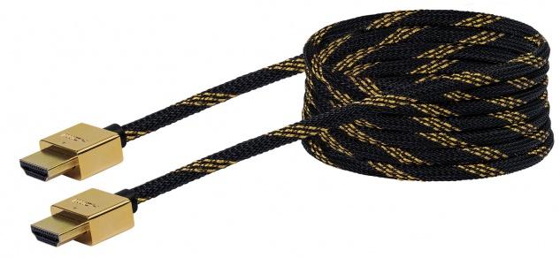 SCHWAIGER -HDMSL25 531- SLIMLINE High-Speed-HDMI-Kabel mit Ethernet HDMI-Stecker zu HDMI-Stecker, Schwarz/Gold
