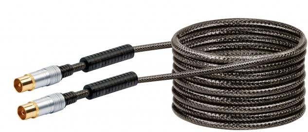 SCHWAIGER -KVKHD50 533- Antennen Anschlusskabel (110 dB) IEC Stecker zu IEC Buchse, mit Ferritkern, Transparent (Schwarz)