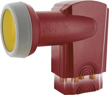 SCHWAIGER -SPS6818R 511- SUN PROTECT - Digitales Quattro LNB mit vergoldeten Anschlüssen, Ziegelrot