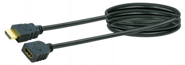SCHWAIGER -HDMV15 533- High-Speed-HDMI-Kabel mit Ethernet HDMI-Stecker zu HDMI-Buchse, Schwarz/Gold
