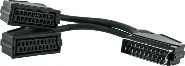 SCHWAIGER -SCV12 531- SCART Y-Verteiler SCART Stecker (21-pol.) > SCART Buchse | SCART Buchse