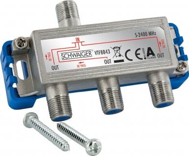 SCHWAIGER -VTF8843 241- 3-fach Verteiler (8 dB) für Kabel-, Antennen- und Satellitenanlagen, Silber/Blau
