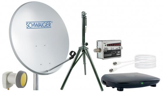SCHWAIGER -719826- SAT Set, Satelliten Anlage, Hellgrau
