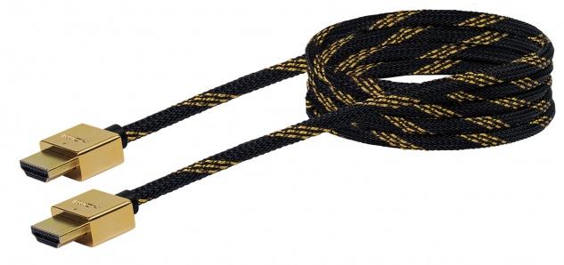 SCHWAIGER -HDMSL15 531- SLIMLINE High-Speed-HDMI-Kabel mit Ethernet HDMI-Stecker zu HDMI-Stecker, Schwarz/Gold