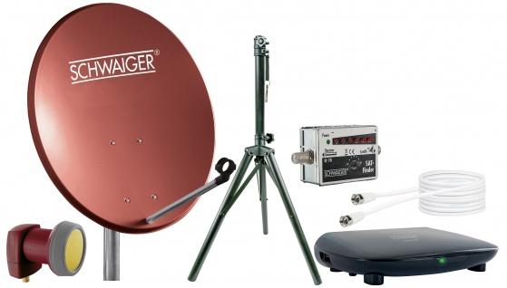 SCHWAIGER -719840- SAT Set, Satelliten Anlage, Ziegelrot