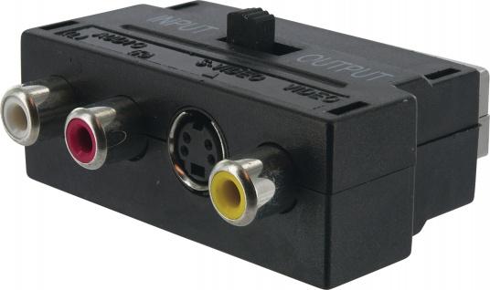 SCHWAIGER -SCA7320 531- AV Adapter 3 CINCH Buchsen + S-VHS Buchse > SCART Stecker(IN/OUT)