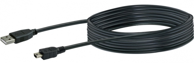 SCHWAIGER -CK1522 533- USB 2.0 Anschlusskabel USB 2.0 A Stecker zu USB 2.0 Mini-B Stecker, Schwarz
