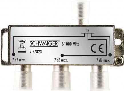 SCHWAIGER -VTF7823 531- 3-fach Verteiler (7 dB) für Kabel- und Antennenanlagen, Silber
