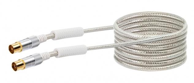 SCHWAIGER -KVKHD30 531- Antennen Anschlusskabel (110 dB) IEC Stecker zu IEC Buchse, mit Ferritkern, Transparent (Weiß)