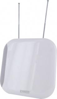 SCHWAIGER -ZA100 011- DVB-T2(T) Zimmerantenne (aktiv) für den Empfang von VHF & UHF, Weiß/Grau