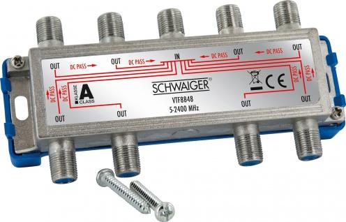 SCHWAIGER -VTF8848 241- 8-fach Verteiler (16 dB) für Kabel-, Antennen- und Satellitenanlagen, Silber/Blau