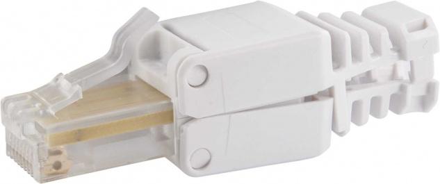 """SCHWAIGER -NWST32 532- CAT 5e Netzwerkstecker 2er-Set """" Easy Install"""", Weiß"""
