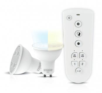 SCHWAIGER -HALSET500- LED Leuchtmittel Set (GU10) als dimmbares Akzentlicht, Smart Home, weiß
