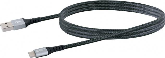 """SCHWAIGER -LKU120C 533- Type C Sync & Ladekabel """" Extreme"""" USB 2.0 A Stecker zu USB 3.1 (Type C) Stecker, Schwarz/Silber"""