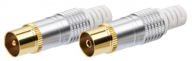 SCHWAIGER -KST6062 531- IEC Stecker Set IEC Stecker + IEC Buchse, Silber