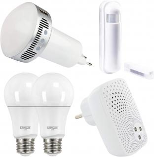 """SCHWAIGER -716122- HOME4YOU® Starterset """" Einbruchschutz/ Licht"""" zum Schutz vor Einbrüchen mit Licht, Smart Home, weiß"""
