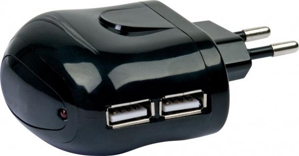 SCHWAIGER -PM12USB 033- USB Ladeadapter (230 V) Der ideale Reisebegleiter., Schwarz