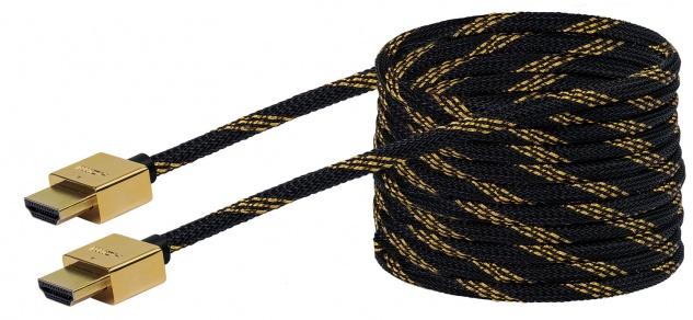 SCHWAIGER -HDMSL50 531- SLIMLINE High-Speed-HDMI-Kabel mit Ethernet HDMI-Stecker zu HDMI-Stecker, Schwarz/Gold