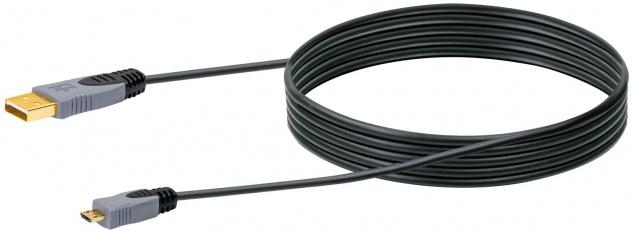 SCHWAIGER -CK3512 533- USB 2.0 Anschlusskabel USB 2.0 A Stecker zu USB 2.0 Micro-B Stecker, Schwarz