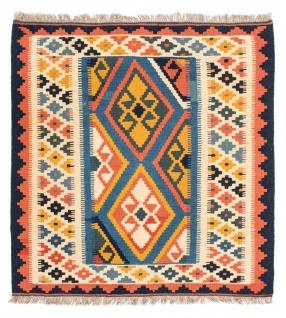 Morgenland Kelim Teppich - Oriental quadratisch - 103 x 100 cm - blau