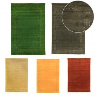 Teppich Morgenland Gabbeh Loribaft Flauschig Wolle Einfarbig Uni Muster Bordüre