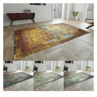 Vintage Teppich Viskose Abstrakt Kurzflor Boho Fusselfrei Modern Handgearbeitet